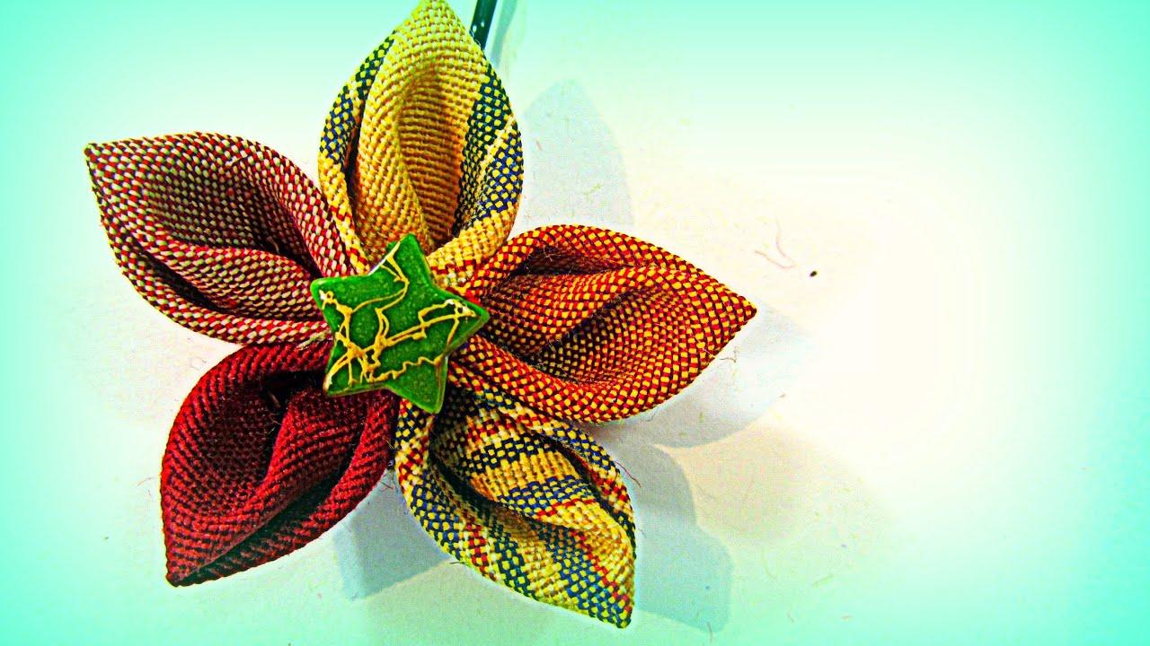 Como hacer flores de tela para el cabello con p talos en for Adornos con plantas de nochebuena