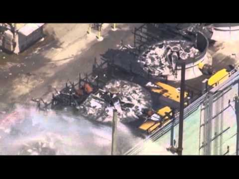 Raw Video: Oil Refinery Fire Aftermath
