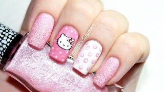 Hello Kitty Nails & Dotting Tools Nail Art | Маникюр в горошек дотсом