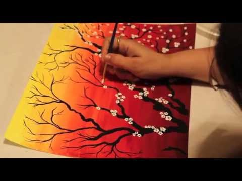 Watercolor Cherry Blossoms Painting Tutorial