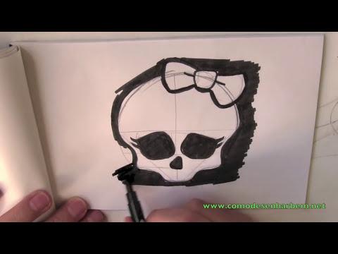 Como desenhar uma caveira da Monster High passo a passo