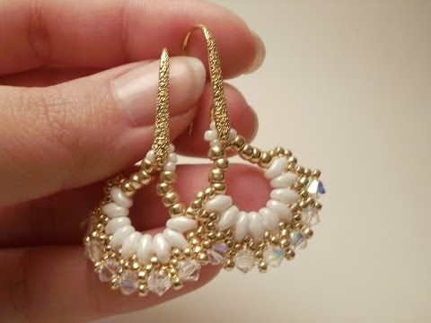 TUTORIAL orecchini Vintage Fan con Superduo e Swarovski | Superduo earrings TUTORIAL