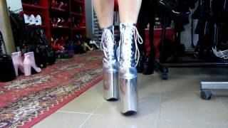 High heels 30cm boots silver patent leather platform 20cm