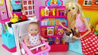 Baby doll and Barbie Shopping Mini mart toys Supermarket food play 아기인형 바비 마트 음식 장난감놀이 - 토이몽