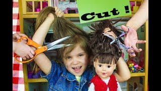 My Doll and ME's FIRST HAIR CUT at SALON + We so DYED my Hair ! Extreme Makeover Vlog