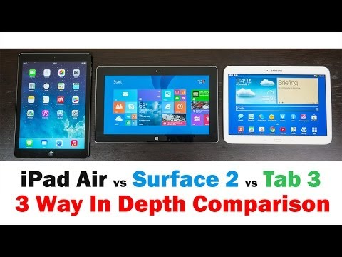 Apple iPad Air vs. Microsoft Surface 2 vs Samsung Galaxy Tab 3 (Full in-depth Comparison)