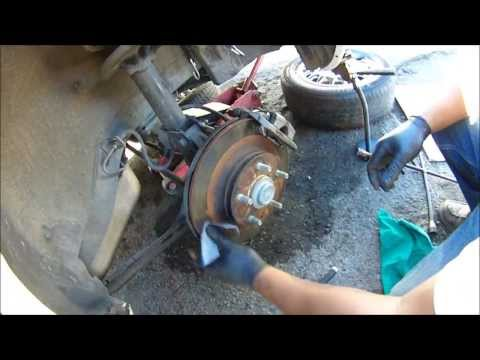 HOW TO PUSH BRAKE CALIPER PISTONS BACK. HOW TO CHANGE BRAKE PADS MAZDA 626 REAR BRAKES