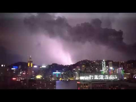 lightning storm over Hong Kong Island, July 9 2016