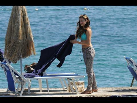 Kelly Brook In Light Blue Bikini