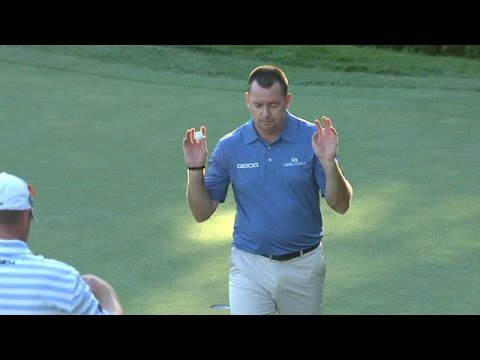Robert Garrigus holes an unbelievable sloping birdie putt at Deutsche Bank