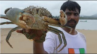 BIG CRAB CAUGHT AND COOKING IN GOA BACKWATER   CRAB CURRY  MAKING   SEAFOOD RECIPES