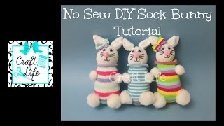 Craft Life No Sew DIY Sock Bunny Rabbit Tutorial for Easter & Spring