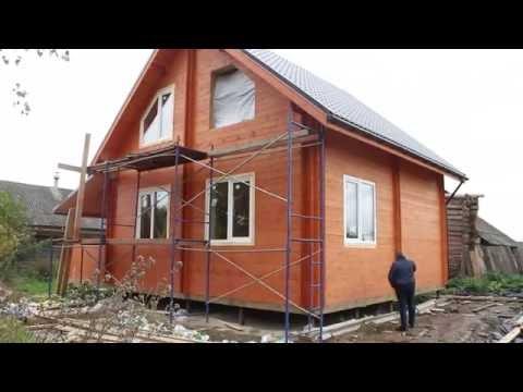 Дачный дом для постоянного проживания из двойного бруса.