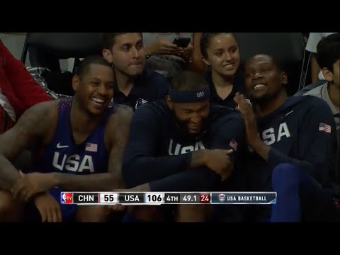 Jordan airballs free throw, Melo, Cousins, Durant can't stop laughing (USA Basketball 2016)