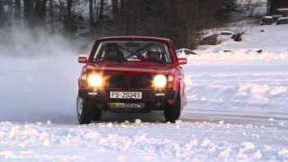 Drifting on ice - Volvo rally ,  BMW E30 325i, Volvo T5R