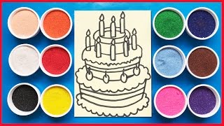 Đồ chơi trẻ em tô màu tranh cát sinh nhật 3 tầng- Colored Sand Painting (Chim Xinh)