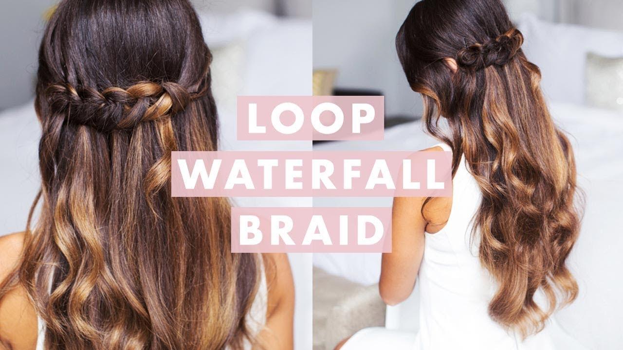 最新のヘアスタイル 結婚式髪型ハーフアップ 自分 : Loop Waterfall Braid YouTube