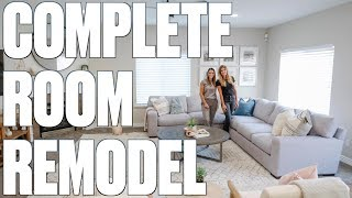 COMPLETE FAMILY ROOM REMODEL AND MAKEOVER REVEAL | BEFORE AND AFTER ROOM REMODEL
