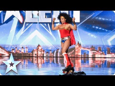 Rollerskating Wonder Woman Mzz Kimberley - Born This Way | Britain's Got Talent (Short Version)