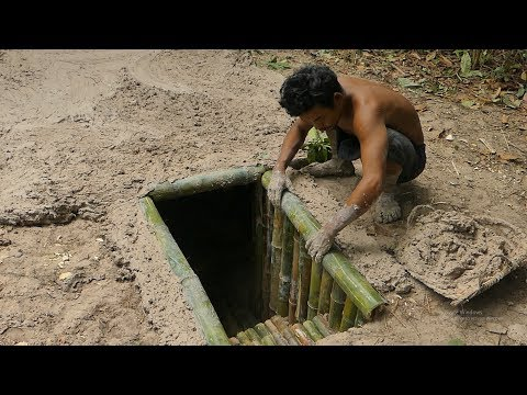 Unbelievable! Building The Most Secret Underground Bamboo House Under Pool By Ancient Skill