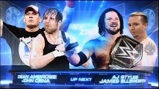 John Cena & Dean Ambrose vs. AJ Styles & The Miz: SmackDown (highlight)