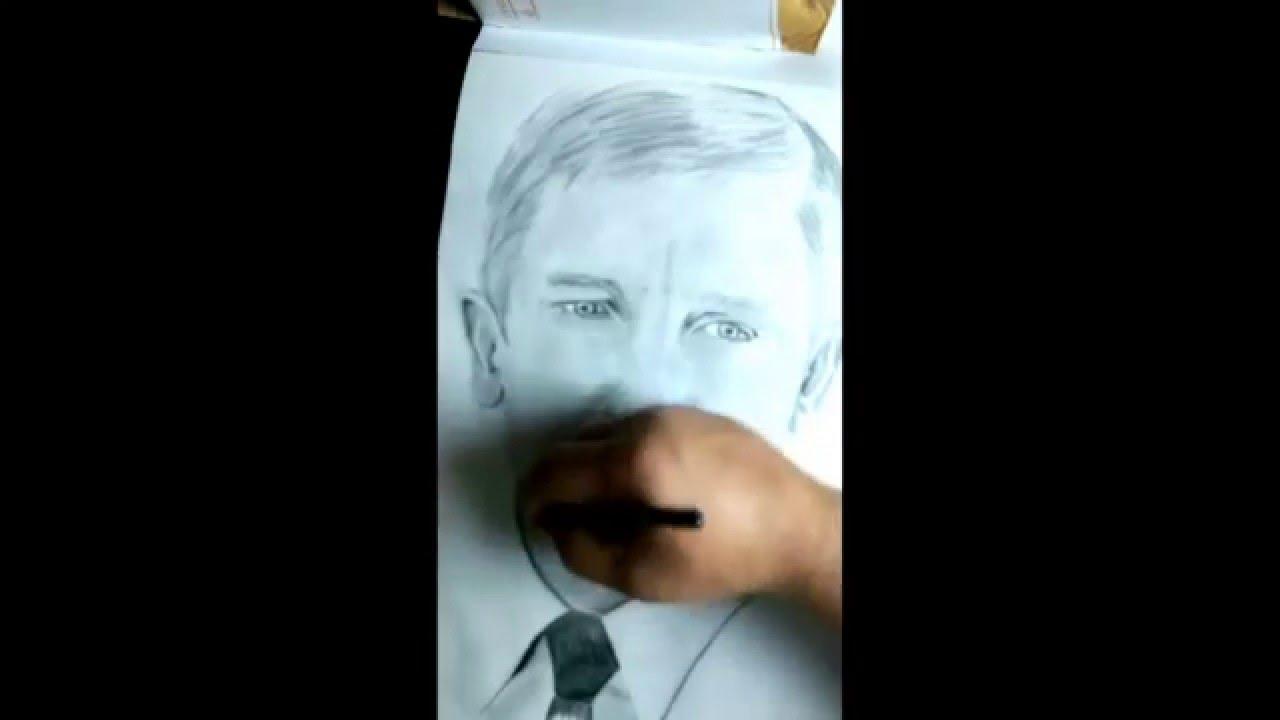 Daniel Craig James Bond pencil drawing(part 2)