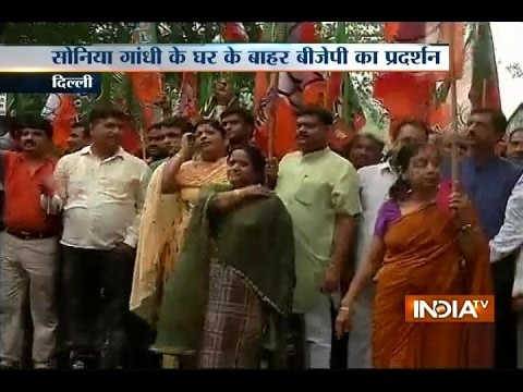 BJP Workers Protest against Congress President Sonia Gandhi Outside Her Residence