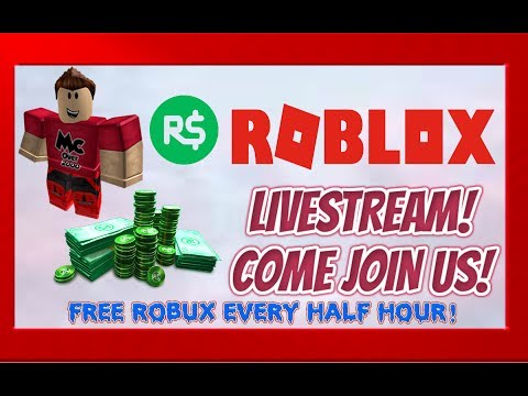 ROBLOX LIVESTREAM! FREE ROBUX EVERY HALF HOUR! NEW OVERLAY! #ROADTO10K