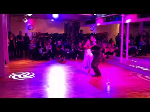 Michael Nadtochi and Zoya Altmark dance Tango at the MateAmargo Milonga at the Scarlet Mambo Studio