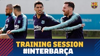 First training session to prepare the match against Inter with Messi