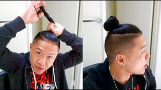 How To Tie Man Bun w/ Longer Hair- How To Wear Hat w/ Long Hair