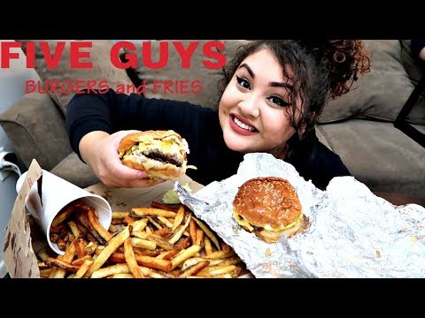 FIVE GUYS BURGERS AND FRIES MUKBANG thumbnail