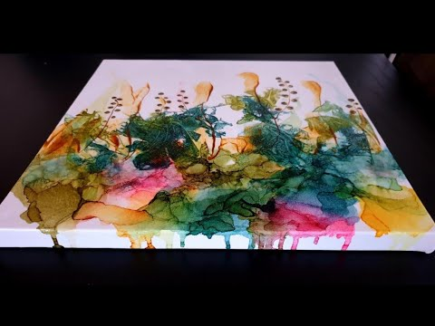 Alcohol Ink  Tutorial on Canvas , Cool Effect With Wrap ( nr 65 )