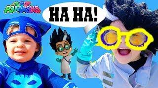 PJ Masks Romeo TRICKS Gekko & Catboy! Funny Glasses!