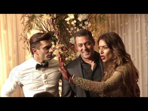 Salman Khan HUGS Karan Singh Grover Bipasha Basu At Wedding Reception