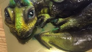 Kricky Cakes Decoration: Airbrushed Dragon Cake tutorial HD 1080p