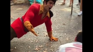 Man Challenges Gaston To Manly Push-up Contest At Disney World