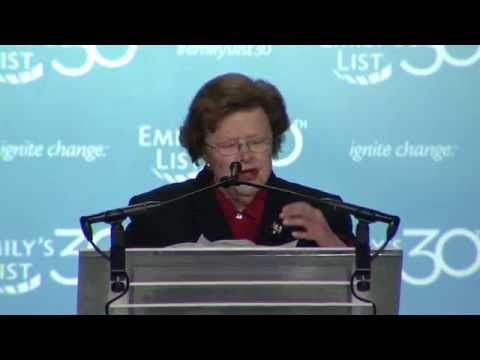 Barbara Mikulski speaks at EMILY's List 30th Anniversary