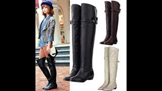 Over the Knee Leather Flat Boots