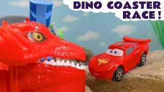 Hot Wheels Dino Coaster Farthest Wins with Cars McQueen and the funny Funlings TT4U