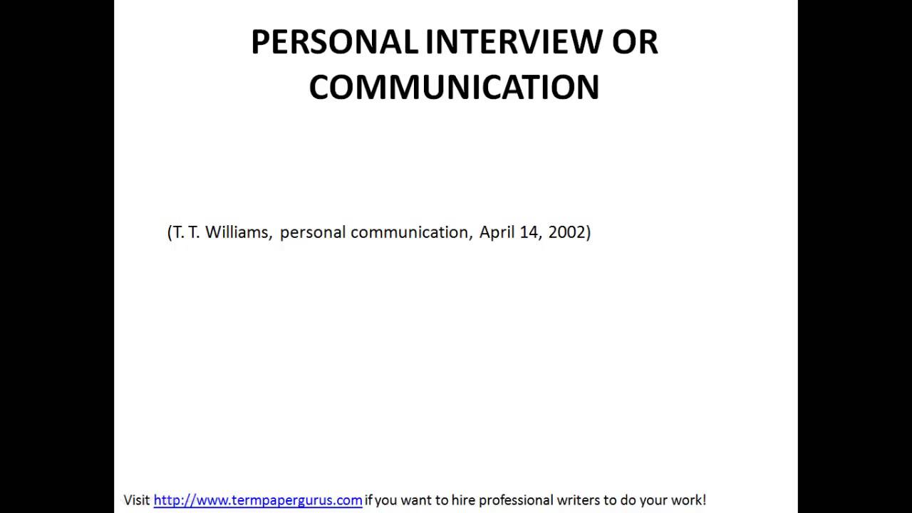 apa format interview paper example