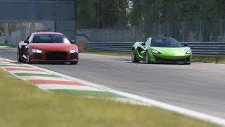 McLaren 570S vs Audi R8 v10 Plus at Monza Circuit