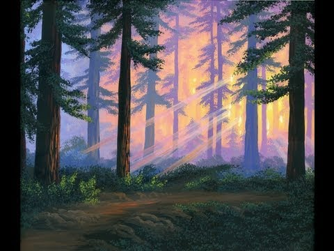 Как рисовать леса красками
