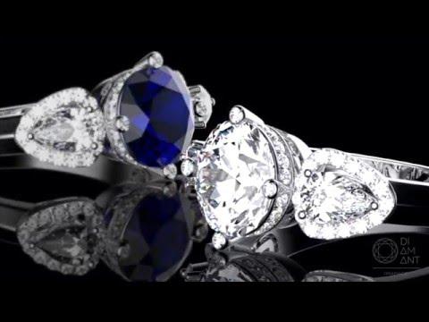 2,82 ct. diamond, sapphire, ruby rings