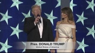 Trump pokes fun at Twitter use during ball.