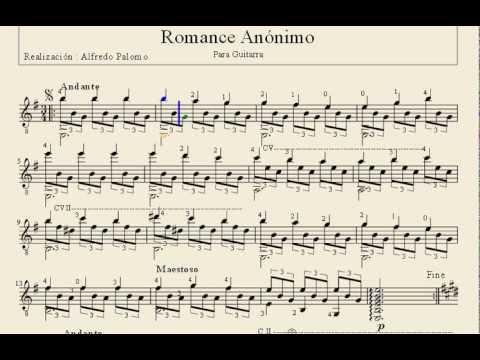 partitura de romance an nimo para guitarra cl sica youtube ForPartituras Guitarra Clasica