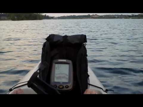 my kayak rig with trolling moter and fishfinder
