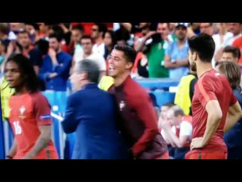 Cristiano Ronaldo acts hilariously with Coach Santos