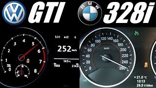 ★ Golf 7 GTI (220hp) vs BMW F30 328i (245hp) 0-250 km/h Acceleration Top Speed