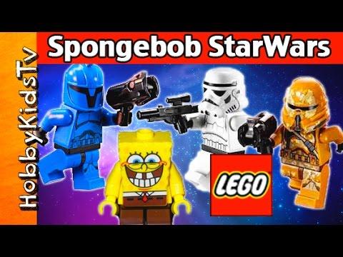 SpongeBob Builds Star Wars LEGOs + Troopers Fight! HobbyKidsTV